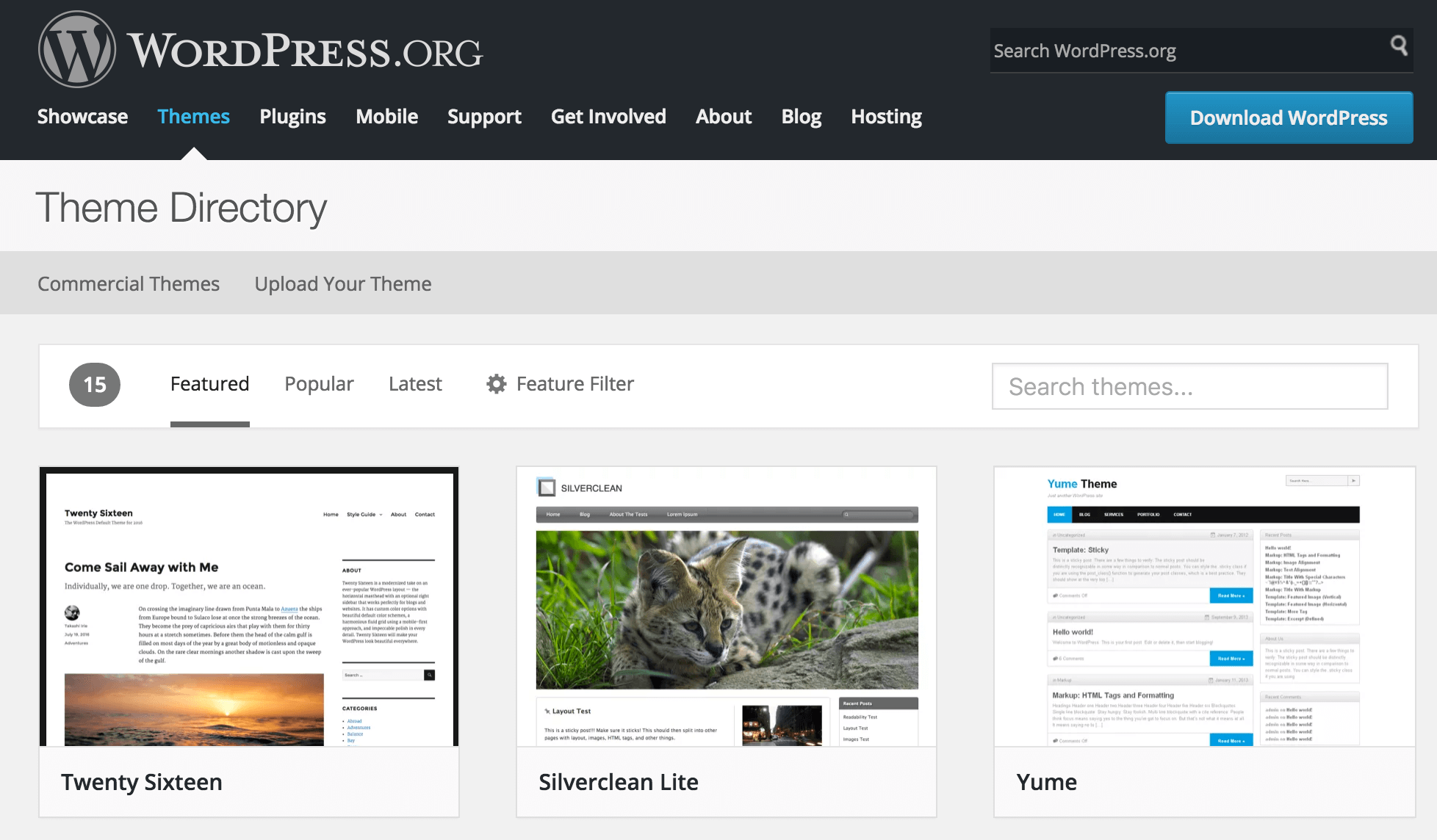 The WordPress.org Theme Directory
