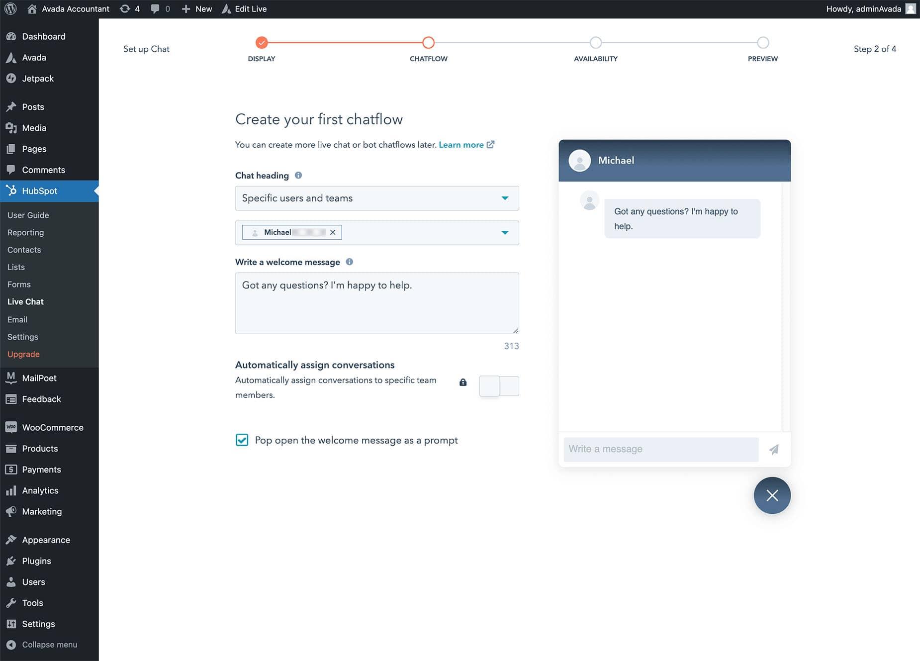 HubSpot Live Chat Flow